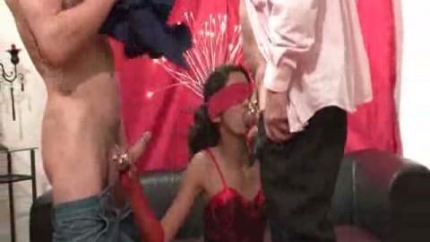 française enculée les yeux bandés devant son mari